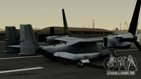 MV-22 Osprey para GTA San Andreas esquerda vista