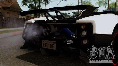 Pagani Zonda Cinque Roadster para GTA San Andreas vista interior