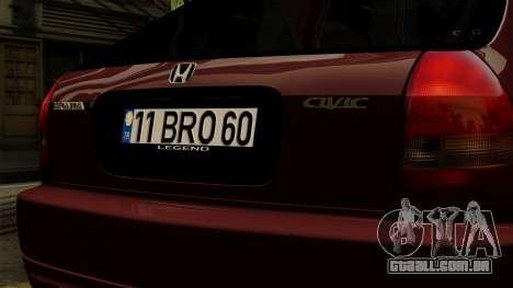 Honda Civic Hatchback B. O. Construção para GTA San Andreas vista traseira