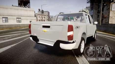 Chevrolet S10 LTZ 2014 v0.1 para GTA 4 traseira esquerda vista