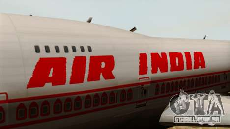 Boeing 747-237B Air India Flight 182 para GTA San Andreas vista traseira