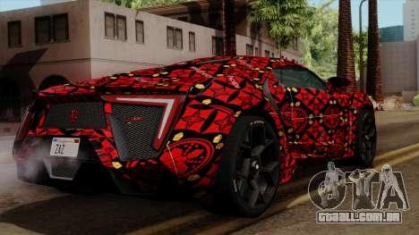 Lykan Hypersport Batik para GTA San Andreas esquerda vista