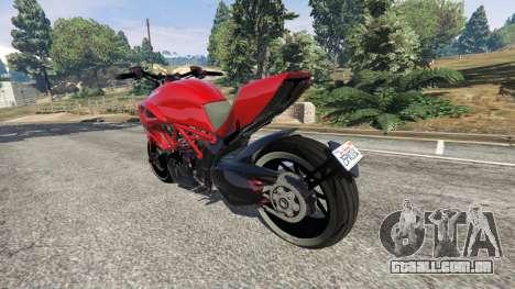 GTA 5 Ducati Diavel Carbon 2011 traseira vista lateral esquerda