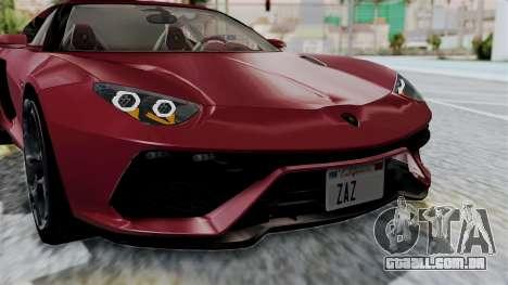Lamborghini Asterion Concept 2015 v2 para GTA San Andreas vista interior