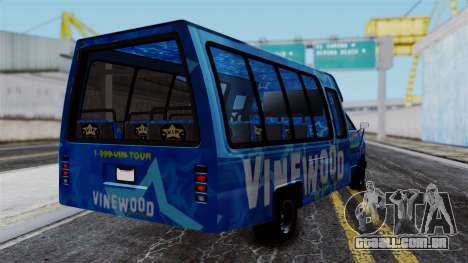 Vinewood VIP Star Tour Bus para GTA San Andreas esquerda vista