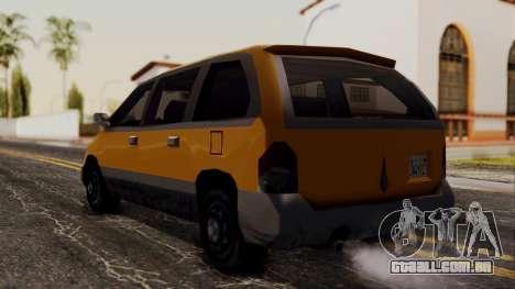Minivan Cabbie SA Style para GTA San Andreas esquerda vista