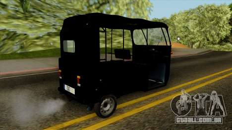 Indian Auto Rickshaw Tuk-Tuk para GTA San Andreas esquerda vista