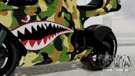 Bati Motorcycle Camo Shark Mouth Edition para GTA San Andreas vista direita