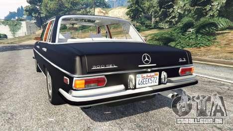 GTA 5 Mercedes-Benz 300SEL 6.3 v1.2.3 traseira vista lateral esquerda