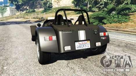 GTA 5 Caterham Super Seven 620R v1.5 [black] traseira vista lateral esquerda