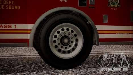 GTA 5 MTL Firetruck IVF para GTA San Andreas traseira esquerda vista