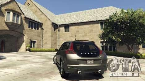 GTA 5 Volvo C30 Unmarked Police traseira vista lateral esquerda