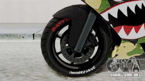 Bati Motorcycle Camo Shark Mouth Edition para GTA San Andreas traseira esquerda vista