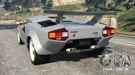 GTA 5 Lamborghini Countach LP500 QV 1988 v1.2 traseira vista lateral esquerda
