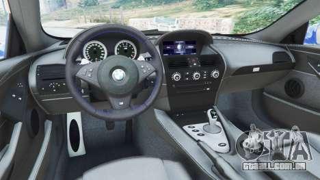 GTA 5 BMW M6 (E63) WideBody v0.1 [Pagid RS] voltar vista