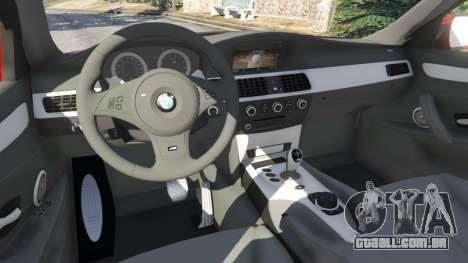 GTA 5 BMW M5 (E60) 2006 vista lateral direita