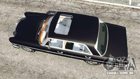 GTA 5 Mercedes-Benz 300SEL 6.3 v1.2.3 voltar vista