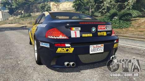 GTA 5 BMW M6 (E63) WideBody v0.1 [StopTech] traseira vista lateral esquerda