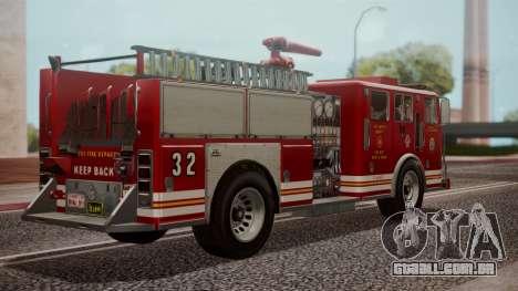 GTA 5 MTL Firetruck IVF para GTA San Andreas esquerda vista
