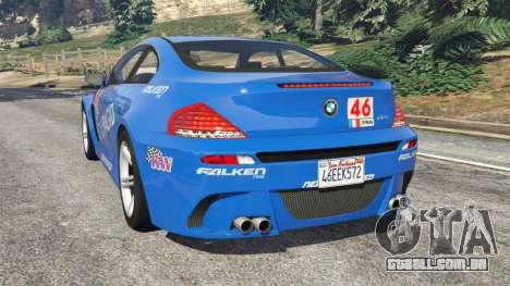GTA 5 BMW M6 (E63) WideBody v0.1 [Pagid RS] traseira vista lateral esquerda