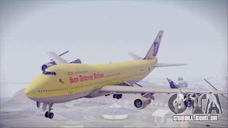 Boeing 747-200 GTA SA Airline para GTA San Andreas traseira esquerda vista