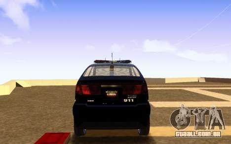 Karin Dilettante Police Car para GTA San Andreas traseira esquerda vista