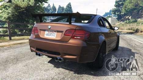 GTA 5 BMW M3 (E92) GTS v0.1 traseira vista lateral esquerda