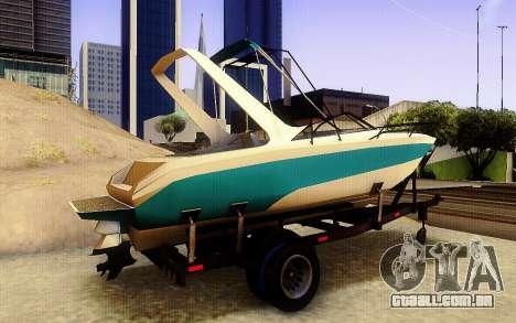 GTA V Boat Trailer para GTA San Andreas traseira esquerda vista