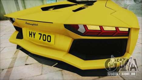 Lamborghini Aventador LP700-4 Roadster 2013 para GTA San Andreas vista traseira