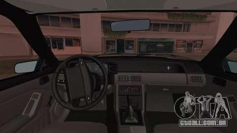 Ford Mustang Hatchback 1991 v1.2 para GTA San Andreas traseira esquerda vista