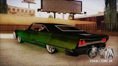 Savanna Ganstar Lowrider para GTA San Andreas esquerda vista