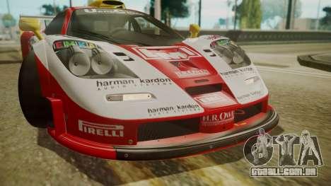 McLaren F1 GTR 1998 Lemans McLaren para GTA San Andreas vista interior