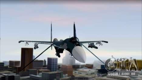 SU-35 Russian Air Force Modern Livery para GTA San Andreas traseira esquerda vista