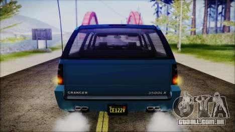 GTA 5 Declasse Granger FIB SUV IVF para GTA San Andreas vista traseira