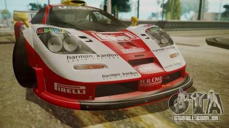 McLaren F1 GTR 1998 Lemans McLaren para GTA San Andreas vista traseira