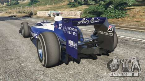 GTA 5 Williams FW32 traseira vista lateral esquerda