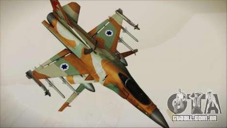 F-16C Block 25 Israeli Air Force para GTA San Andreas traseira esquerda vista