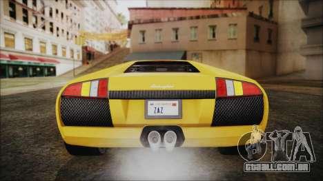 Lamborghini Murcielago 2005 Yuno Gasai IVF para GTA San Andreas vista inferior