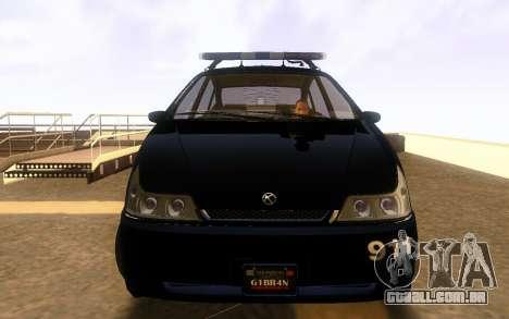 Karin Dilettante Police Car para GTA San Andreas esquerda vista