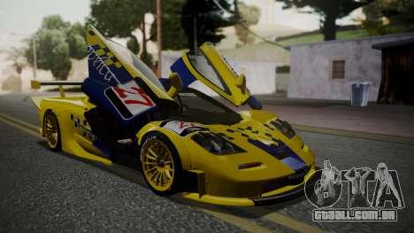 McLaren F1 GTR 1998 Parabolica para GTA San Andreas vista traseira