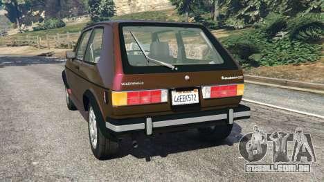 GTA 5 Volkswagen Rabbit 1986 v2.0 traseira vista lateral esquerda