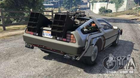GTA 5 DeLorean DMC-12 Back To The Future v1.0 traseira vista lateral esquerda