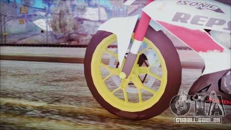 Honda Sonic 150R AntiCacing para GTA San Andreas traseira esquerda vista