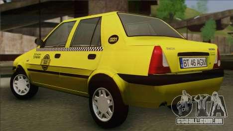 Dacia Solenza Taxi para GTA San Andreas esquerda vista