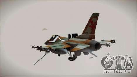 F-16C Block 25 Israeli Air Force para GTA San Andreas esquerda vista