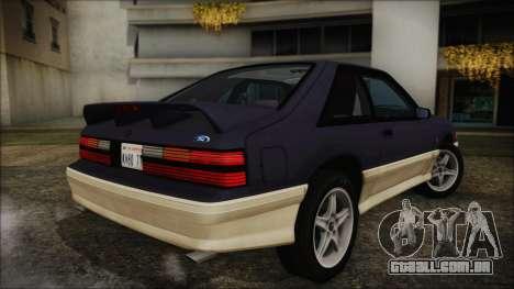Ford Mustang Hatchback 1991 v1.2 para GTA San Andreas esquerda vista