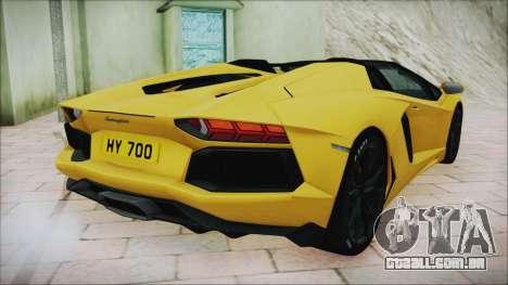 Lamborghini Aventador LP700-4 Roadster 2013 para GTA San Andreas traseira esquerda vista