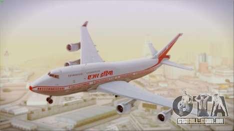 Boeing 747-437 Air India Tanjore New Skin para GTA San Andreas traseira esquerda vista