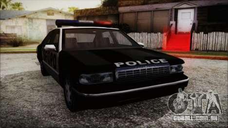 Beta SFPD Cruiser para GTA San Andreas traseira esquerda vista