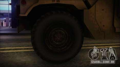 HMMWV Patriot para GTA San Andreas traseira esquerda vista